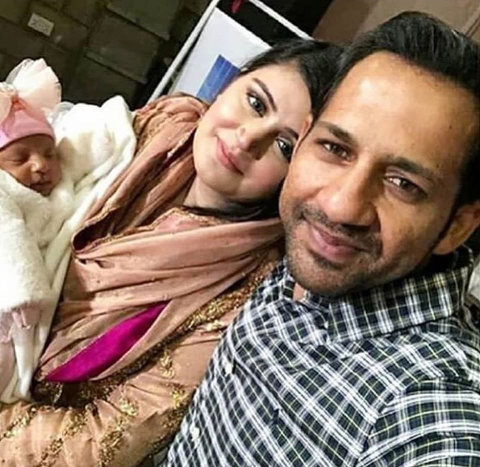Sarfraz Ahmed And His Wife With His Newly Born Baby Girl