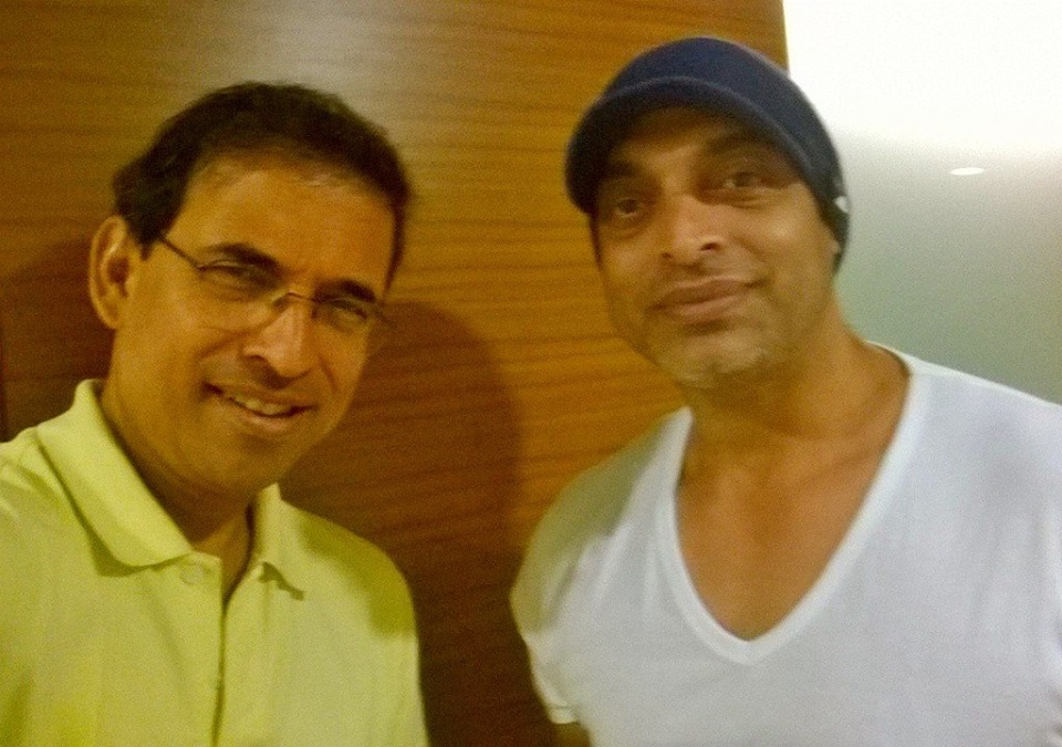 Selfie time - Harsha Bhogle and Shoaib Akhtar pictured together in Australia
