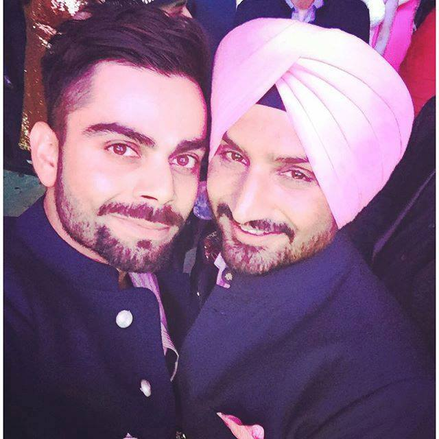 Selfie time - Virat Kohli & Harbhajan Singh in his wedding
