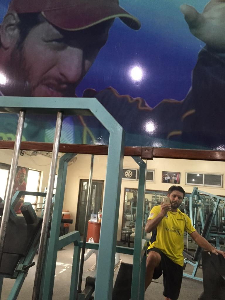 Shahid Afridi At Gym