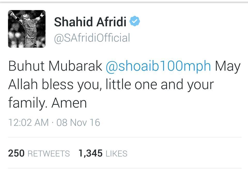 Shahid Afridi Congratulating Shoaib Akhtar