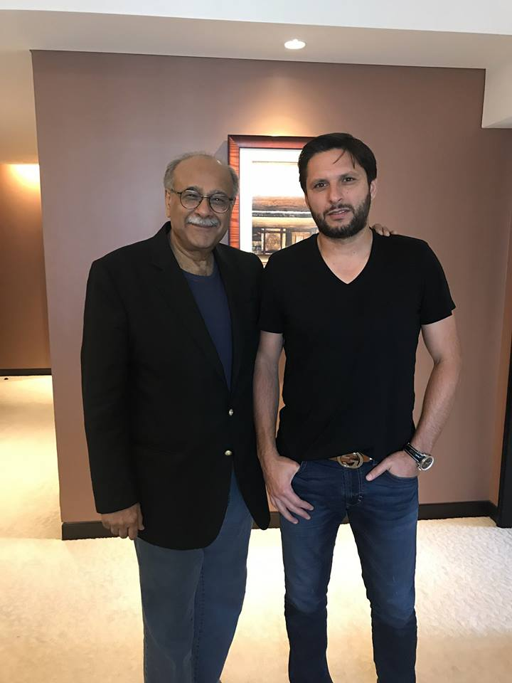 Shahid Afridi Meet Najam Sethi In UAE