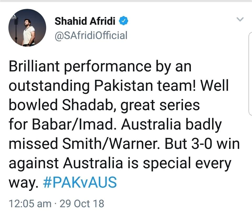 Shahid Afridi On Pakistan's 3-0 Whitewash Against Australia