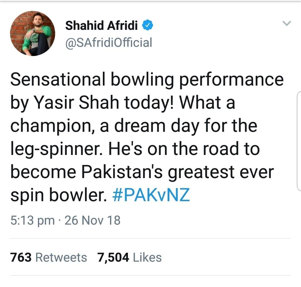 Shahid Afridi On Yasir Shah's Performance In 2nd Test Match Against New Zealand
