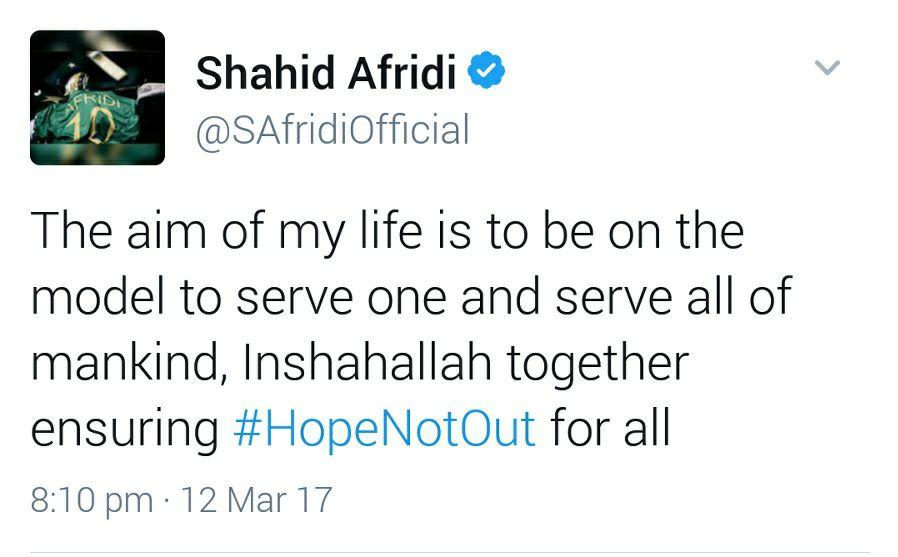 Shahid Afridi Tweet
