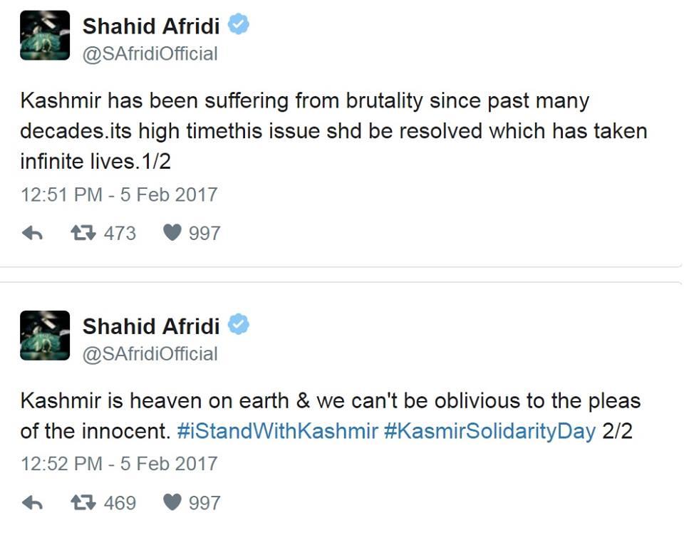 Shahid Afridi Tweet About Kashmir