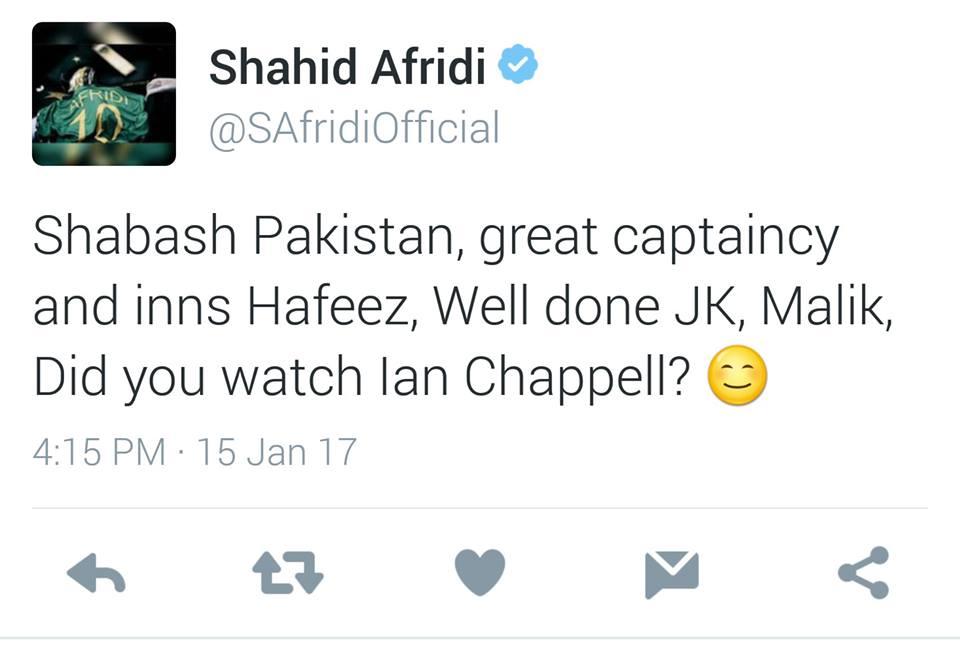 Shahid Afridi Tweet About Pakistan Victory