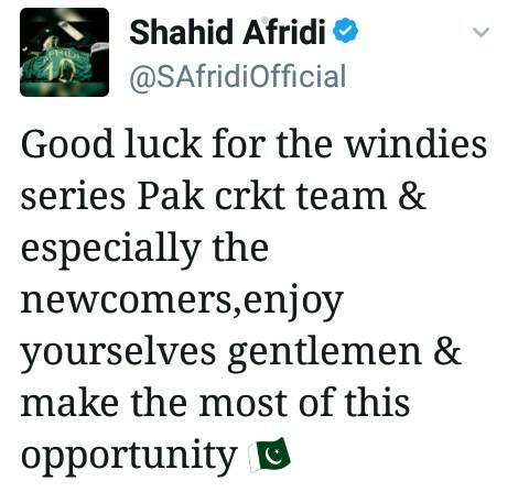 Shahid Afridi Tweet About West Indies Tour