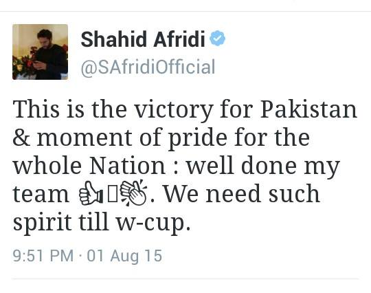 Shahid Afridi Tweet For Congratulating Team