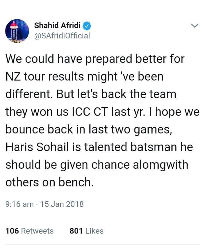 Shahid Afridi Tweeted About Pak Performance In NZ