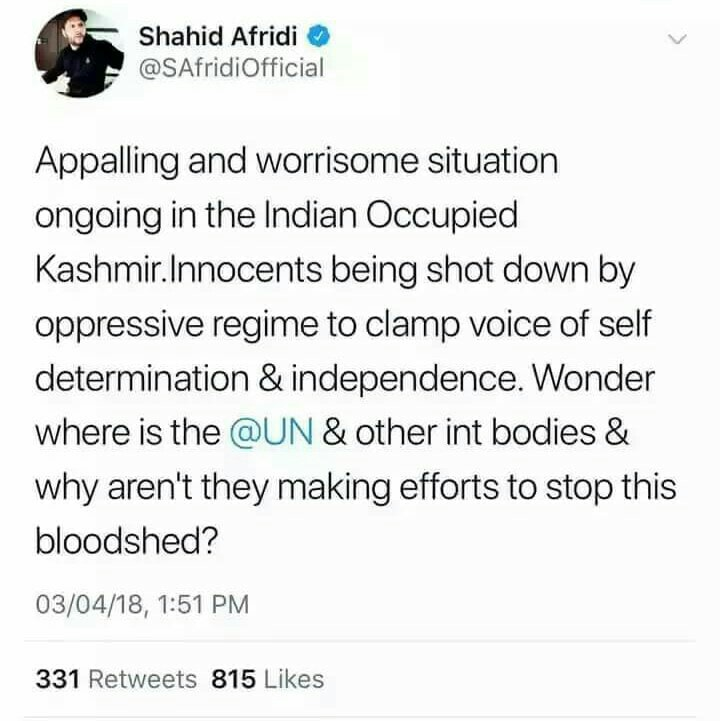 Shahid Afridi Tweets On Ongoing Brutality In Occupied Kashmir