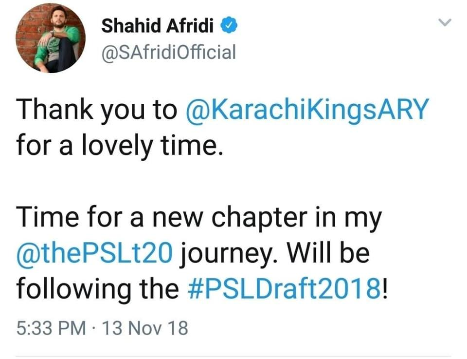 Shahid Afridi Will Not Be A Part Of KK In PSL 4