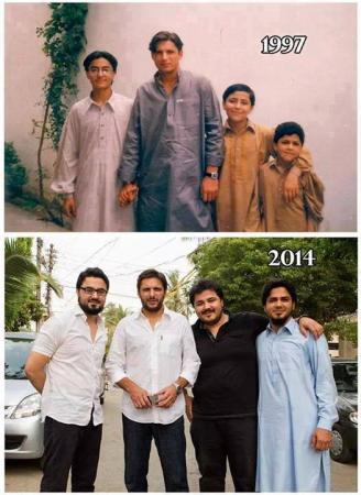 Shahid Afridi With His Cousins 1997 Vs 2014