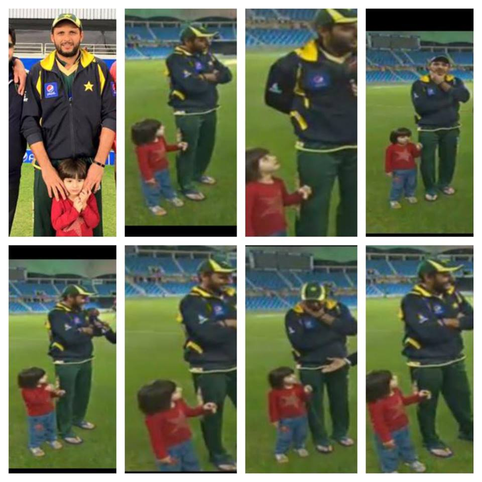 Shahid Afridi With His Daughter During Match Presentation Ceremony