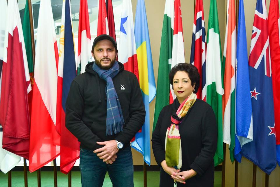 Shahid Afridi With Maleeha Lodhi At The UN