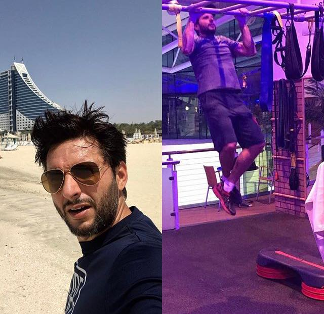 Shahid Afridi Working Out To Keep In Shape