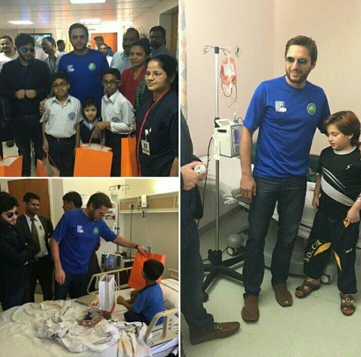 Shahid Afridi pays A visit to Young kids beating cancer at Tawam Hospital Alain UAE