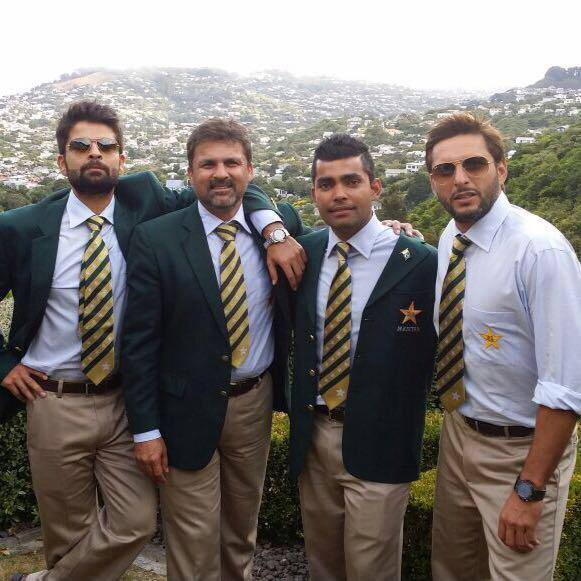 Shahid, Umar Akmal and Ahmed Shehzad With Selector Moin Khan