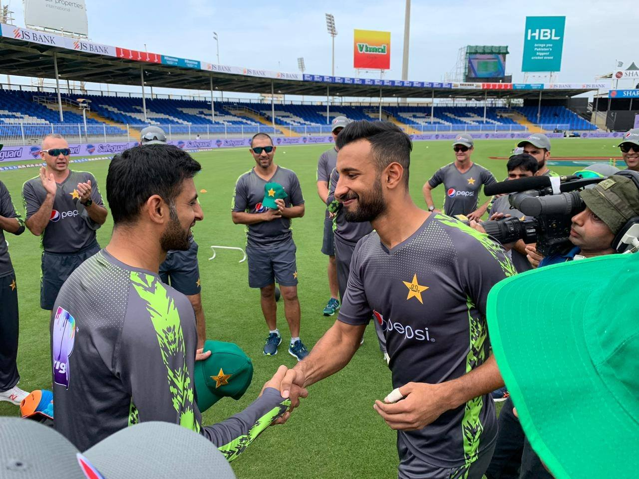 Shan Masood Receiving ODI Cap With Shoaib Malik