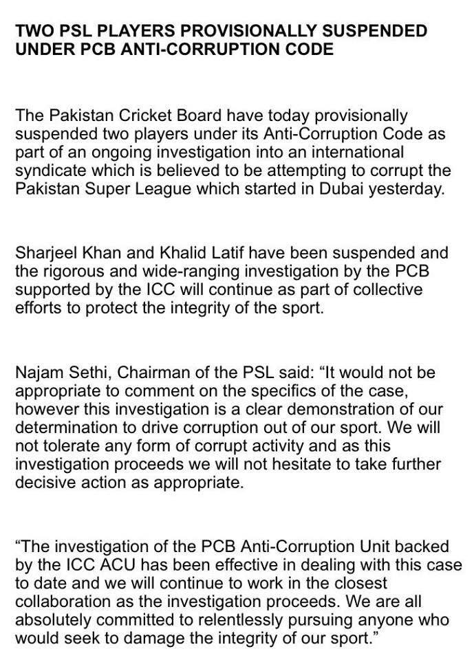 Sharjeel Khan & Khalid Latif Has Been Suspended