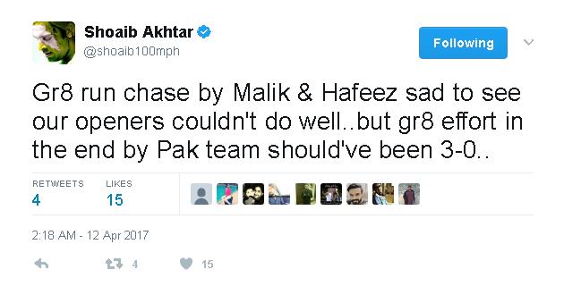 Shoaib Akhtar Applauding Malik & Hafeez