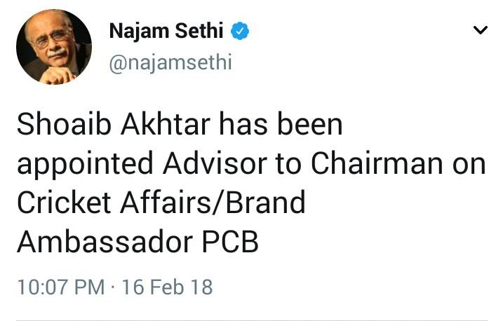 Shoaib Akhtar Gets A Role In PCB