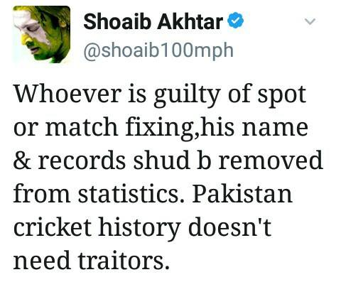 Shoaib Akhtar Tweet About Spot Fixing
