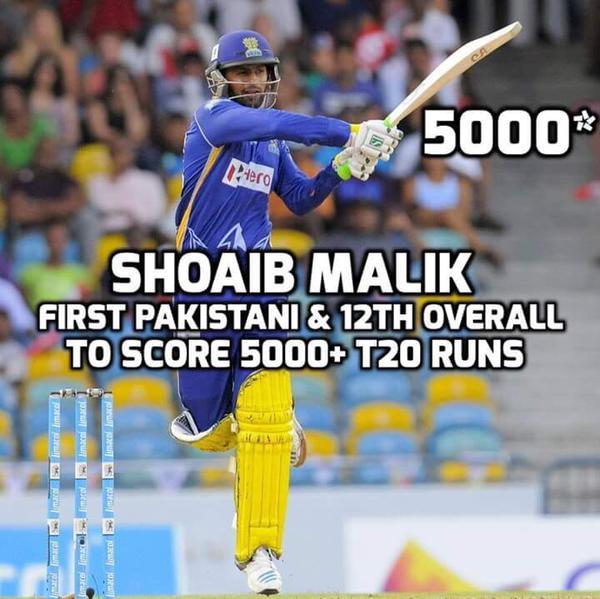 Shoaib Malik First Pakistani To Score 5000 Runs IN T20