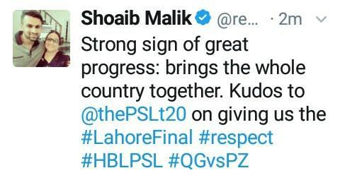 Shoaib Malik Tweet
