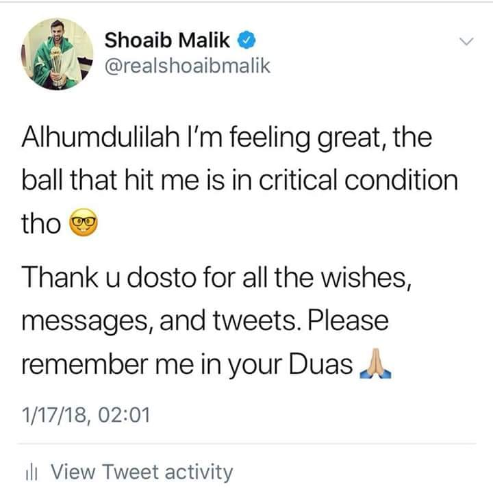 Shoaib Malik Tweeted After 4th ODI Against NZ
