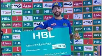 Sohaib Maqsood Gets Player Of The Tournament Award