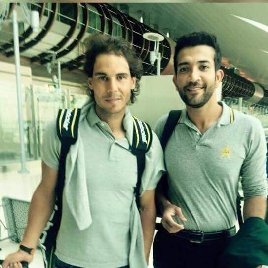 Sohaib Maqsood is pictured with Tennis King, Rafael Nadal