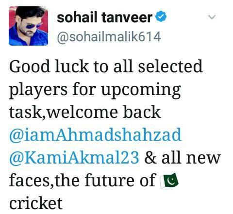 Sohail Tanveer Tweet About Selection