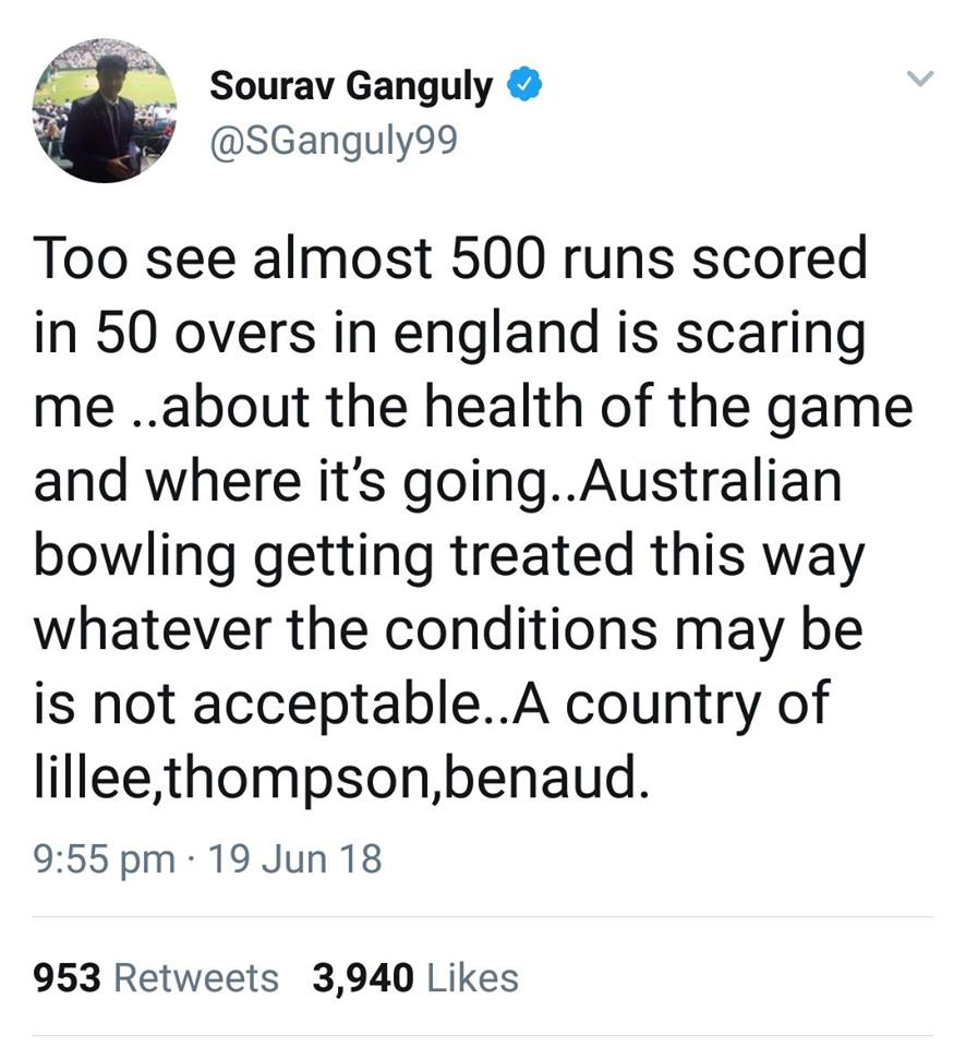 Sourav Ganguly Tweets About Australian Bowling Performance