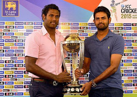 Sri Lankan Captain Angelo Mathews Pose With World Cup 2015 Trophy