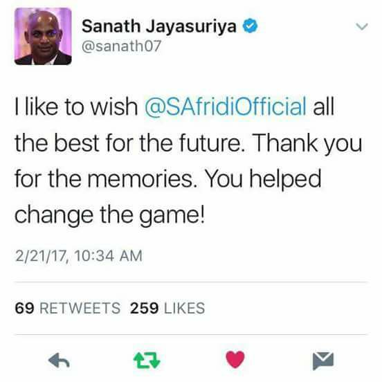 Sri Lankan Legend Sanath Jayasuria Tweets