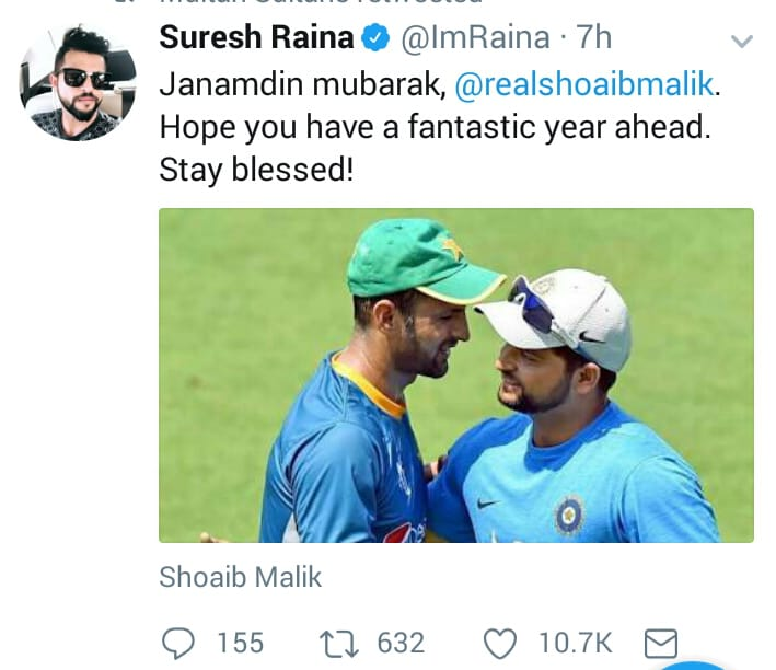 Suresh Raina Wishes Birthday To Shoaib Malik