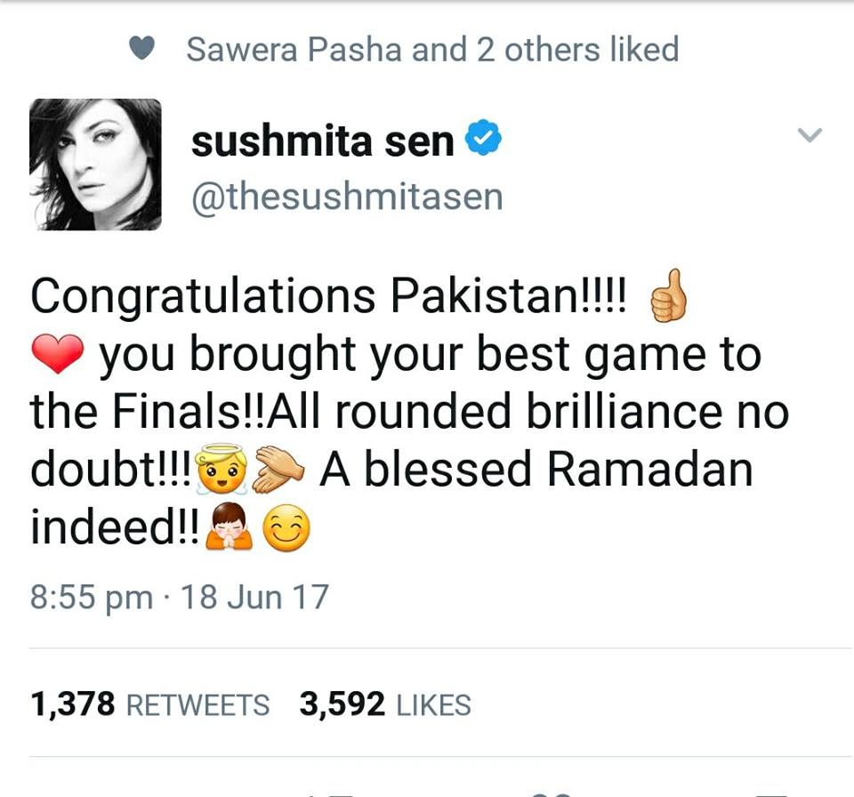 Sushmita Sen Tweet For Pakistan Team
