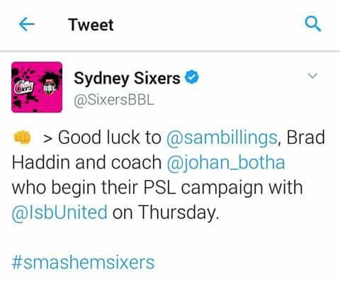 Sydney Sixers Tweet