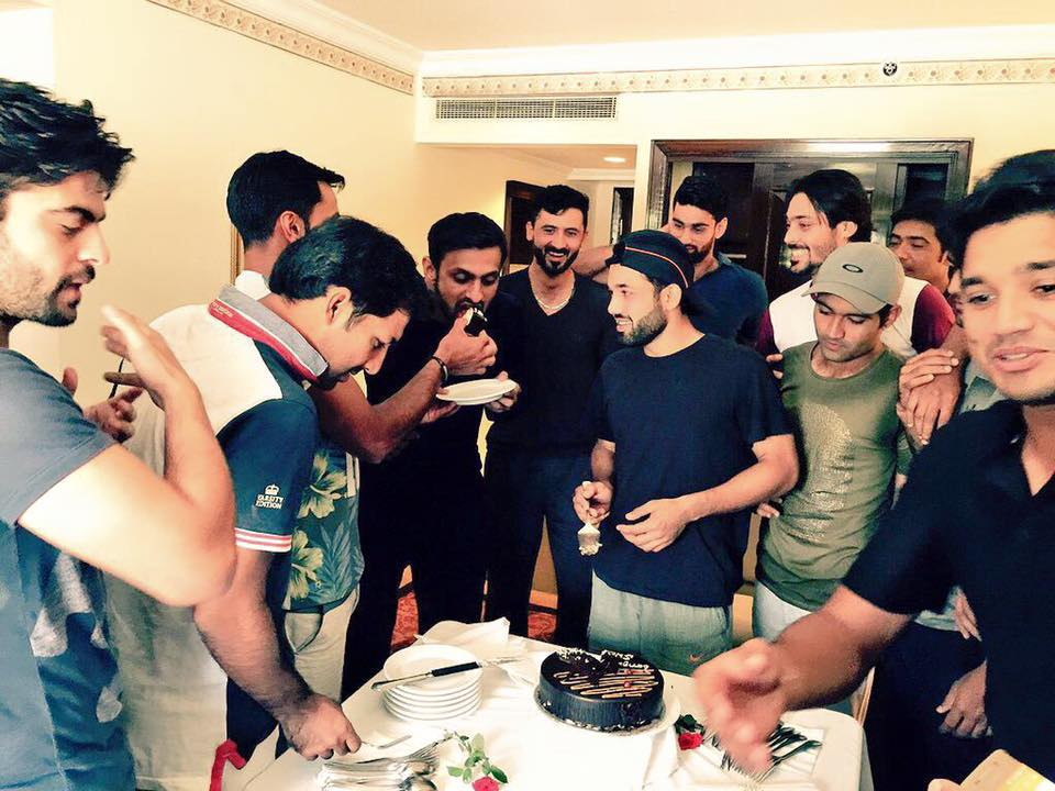 Team Celebrate Hafeez 100 And Malik 50