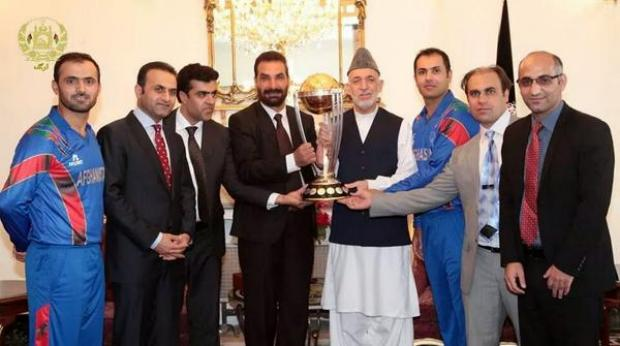The ICC Cricket World Cup 2015 Trophy Receives President Hamid Karzai