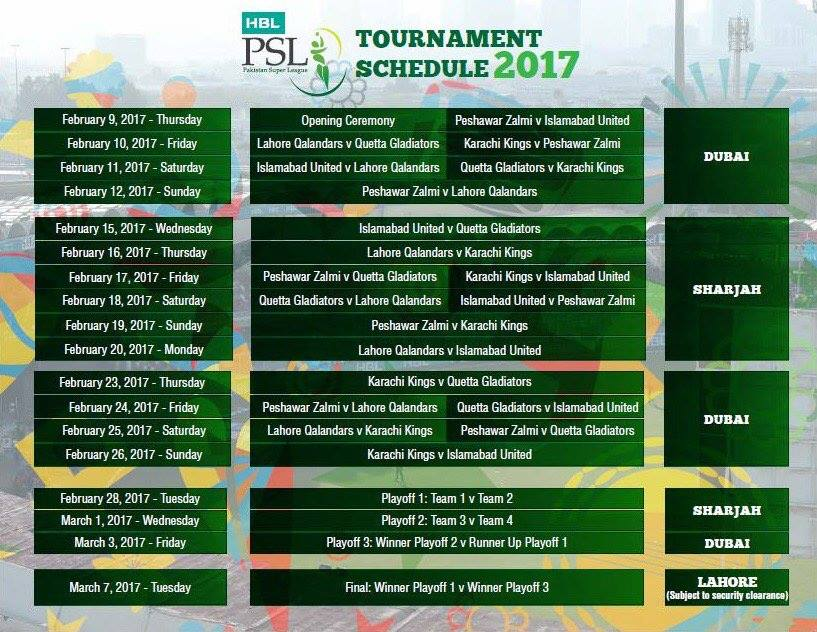 The Second Edition Of PSL To Kick Off From 9th Feb 2017 In Dubai