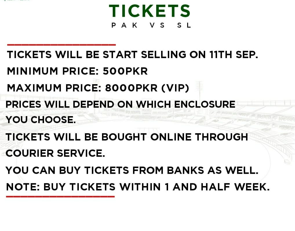 Tickets Of Pak vs SL Series Will Be Start Selling On 11th Sep