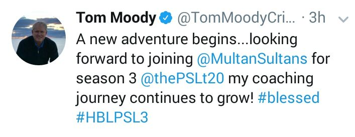 Tom Moody Tweeted About Multan Sultans Coaching In PSL 3