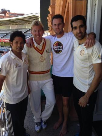 Umar Gul With Brett Lee, Sachin And Shaun Tait At Lords Balcony
