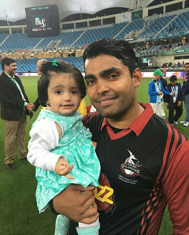 Umer Akmal with his beautiful daughter