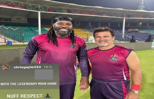 Universe Boss Chris Gayle With The Legendary Moin Khan