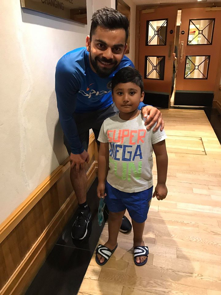 Virat Kohli with Azhar Ali Kid
