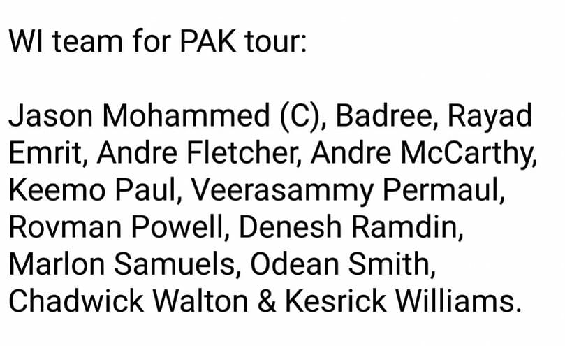 WICB Announced 13 Member Squad For Pakistan-West Indies Three T20I Series