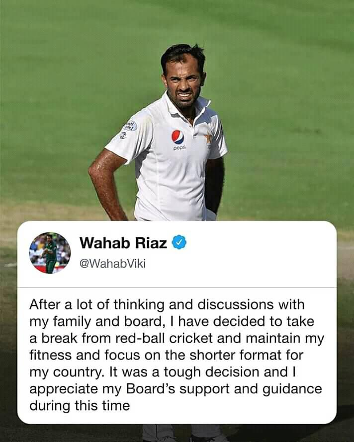 Wahab Riaz Takes Indefinite Break From Test Cricket